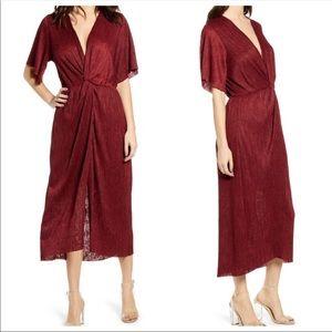 NWT All in Favor burgundy midi dress size medium M